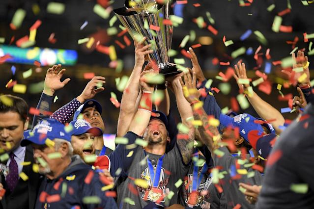 <p>The U.S. team celebrates following an 8-0 win over Puerto Rico in the final of the World Baseball Classic in Los Angeles, Wednesday, March 22, 2017. (AP Photo/Mark J. Terrill) </p>