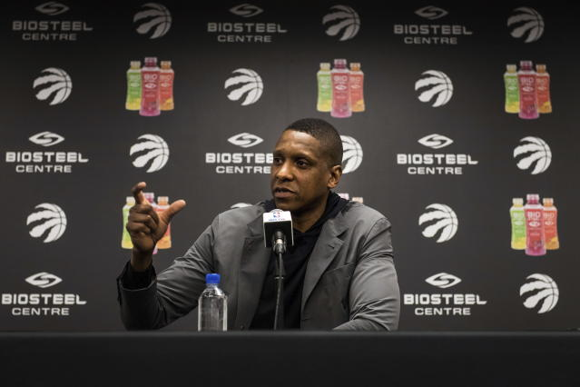 Raptors GM Masai Ujiri will be key in trying to convince Kawhi Leonard to stay in Toronto. (AP)