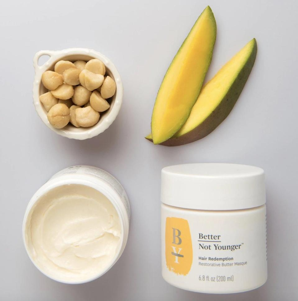 <p>Give your hair some R+R with the <span>Better Not Younger Hair Redemption Butter Masque</span> ($35).</p>