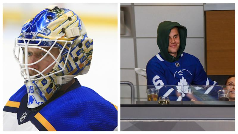 The Blues netminder took to Instagram to challenge the popstar. (Getty Images)