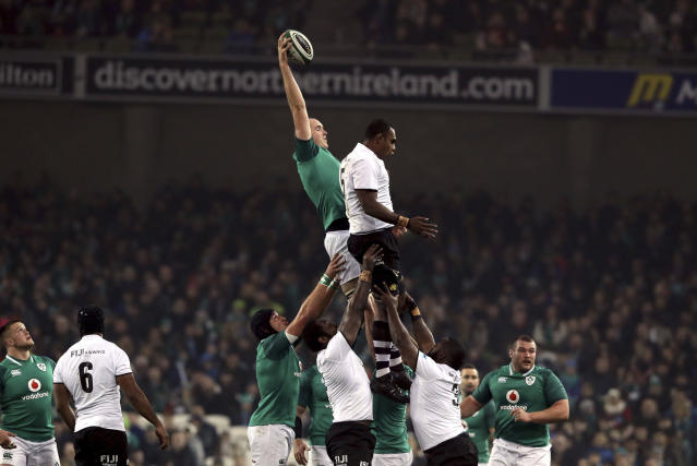 Ireland's Devin Toner, top left, wins the line out ball ahead of Fiji's Leone Nakarawa during their International Rugby Union match at the Aviva Stadium, Dublin, Saturday, Nov. 18, 2017. (Brian Lawless/PA via AP)