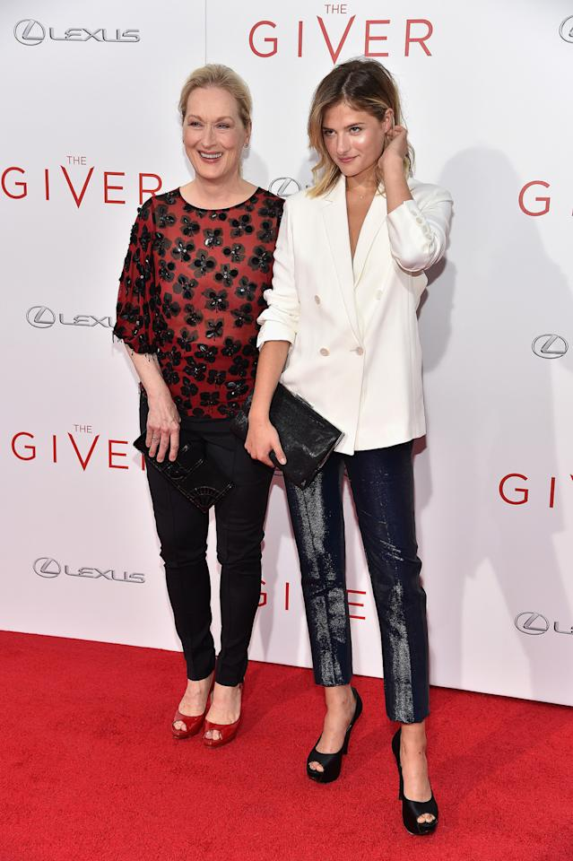 "<p>NEW YORK, NY - AUGUST 11: Actress Meryl Streep (L) and Louisa Gummer attend ""The Giver"" premiere at Ziegfeld Theater on August 11, 2014 in New York City.</p>"
