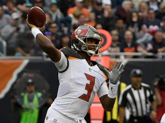 Tampa Bay Buccaneers quarterback Jameis Winston (3) throws during the second half of an NFL football game against the Chicago Bears Sunday, Sept. 30, 2018, in Chicago. (AP Photo/David Banks)