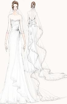 "Photo by: Illustration: Courtesy of Watters Watters To design Angelina Jolie's wedding gown, the team behind Watters first imagined the type of celebration she and Brad Pitt might host, deciding on ""a low key event with close friends and family."" From there, it was a matter of filtering Angie's signature style through Watters' take on a relaxed, intimate affair. ""We believe she'll want to continue her sexy style but with classic touches such as an illusion neckline and three-quarter-length sleeves,"" the designers say. ""We chose lightweight fabrics so the gown would be soft and romantic."" A nod perhaps to one of the biggest trends of the Spring 2013 season, their silk-mousseline design is also trimmed in Chantilly lace along the illusion neck, sleeves, and hem."