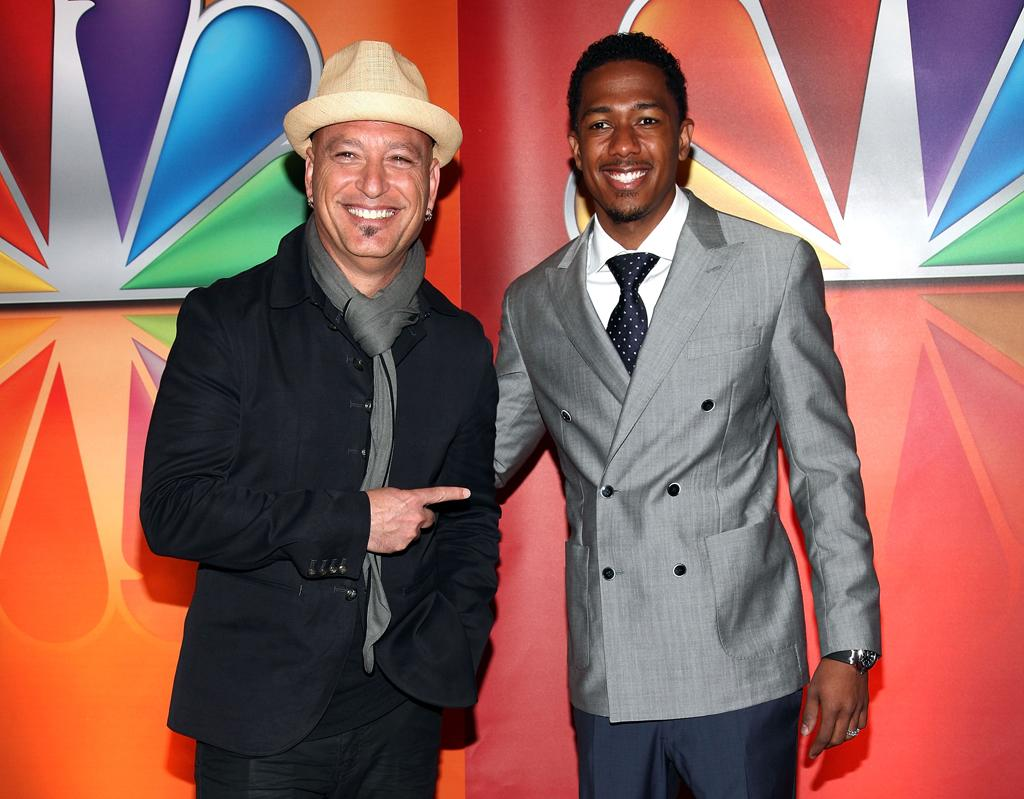 "Howie Mandel and Nick Cannon (""America's Got Talent"") attend NBC's 2012 Upfront Presentation at 51st Street on May 14, 2012 in New York City."