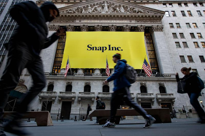 Signage for Snap Inc., parent company of Snapchat, adorns the front of the New York Stock Exchange: Drew Angerer/Getty Images