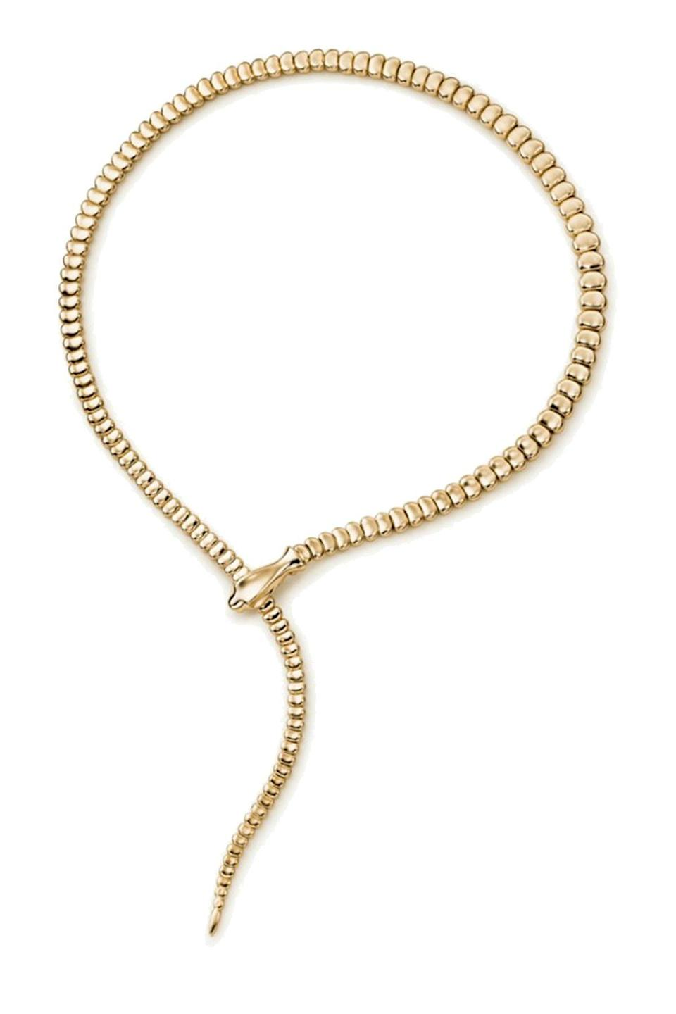 """<p><strong>Tiffany & Co.</strong></p><p>tiffany.com</p><p><strong>$15000.00</strong></p><p><a href=""""https://www.tiffany.com/jewelry/necklaces-pendants/elsa-peretti-snake-necklace-11951929/?omcid=ppc_google_PLA+-+New+-+BR+-+Necklace+-+US+-+Top+Markets&mkwid=slTrwPzGA%7Cpcrid%7C448990288708%7Cpkw%7C%7Cpmt%7C%7Cpdv%7Cc%7Cmtid%7C744dpc50313%7Cslid%7C%7Cproductid%7C60116249%7Ctargetids%7Caud-936063834431%3Apla-927874871227%7Cgroupid%7C105781806873%7C&gclid=CjwKCAjwqIiFBhAHEiwANg9szhEzqTpIJTf-DBBovX36gWNpQzdtMzFi_-KkqWtezyUfIrYtt97W1hoCVPAQAvD_BwE&gclsrc=aw.ds"""" rel=""""nofollow noopener"""" target=""""_blank"""" data-ylk=""""slk:Shop Now"""" class=""""link rapid-noclick-resp"""">Shop Now</a></p><p>Even the most extreme jewelry neophyte knows of the legend that was Elsa Peretti (she died <a href=""""https://www.townandcountrymag.com/style/jewelry-and-watches/a7294/tiffanys-elsa-peretti-interview/"""" rel=""""nofollow noopener"""" target=""""_blank"""" data-ylk=""""slk:earlier this year"""" class=""""link rapid-noclick-resp"""">earlier this year</a>). For more than 40 years at Tiffany & Co, she revolutionized the jewelry world, elevating sterling silver to a luxury material and creating such cult classics like the <a href=""""https://www.townandcountrymag.com/style/jewelry-and-watches/a32346710/elsa-peretti-bone-cuff-tiffany/"""" rel=""""nofollow noopener"""" target=""""_blank"""" data-ylk=""""slk:Bone cuff"""" class=""""link rapid-noclick-resp"""">Bone cuff</a>, the Bean pendant, and this Snake necklace.</p>"""