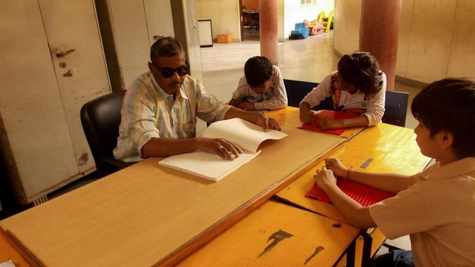 A picture from the series «  a visual from the life of a visually impaired » captured by one of the kids