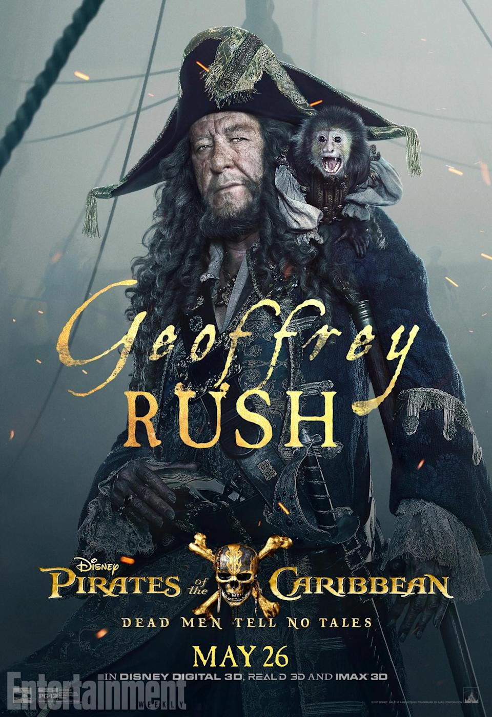 <p>Also returning for another voyage, it's Geoffrey Rush as Captain Barbossa. He's the villain, turned ally, turned villain, turned ally… and this time, it looks as though he'll be teaming up with Captain jack to help put a stop to the villainous Salazar. Can he be trusted? Not likely.<br>(Credit: Disney) </p>
