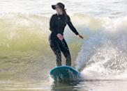<p>Another day, another trip to the beach for Leighton Meester, who surfs in Malibu with husband Adam Brody (not pictured) on Friday.</p>