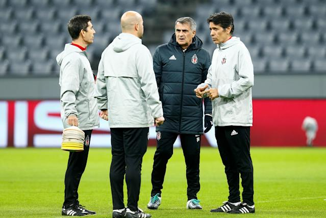 Soccer Football - Champions League - Besiktas Training - Allianz Arena, Munich, Germany - February 19, 2018 Besiktas coach Senol Gunes and coaching staff during training REUTERS/Ralph Orlowski