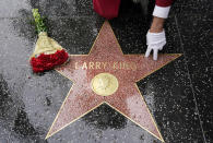 "Flowers lie on the Hollywood Walk of Fame star of the late broadcasting giant Larry King, Saturday, Jan. 23, 2021, in Los Angeles. King, the host of ""Larry King Live"" on CNN for over 25 years, died Saturday at Cedars-Sinai Medical Center in Los Angeles. He was 87. (AP Photo/Chris Pizzello)"