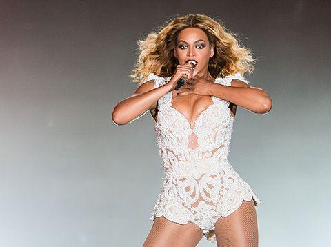 Beyonce onstage during her world tour.