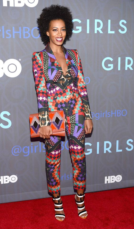 "NEW YORK, NY - JANUARY 09:  Solange Knowles attends the Premiere Of ""Girls"" Season 2 Hosted By HBO at NYU Skirball Center on January 9, 2013 in New York City.  (Photo by Dimitrios Kambouris/WireImage)"