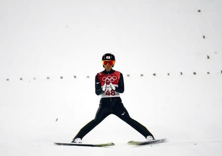 Nordic Combined Events - Pyeongchang 2018 Winter Olympics - Men's Individual Gundersen Large Hill Competition - Alpensia Ski Jumping Centre - Pyeongchang, South Korea – February 20, 2018 - Akito Watabe of Japan reacts. REUTERS/Kai Pfaffenbach