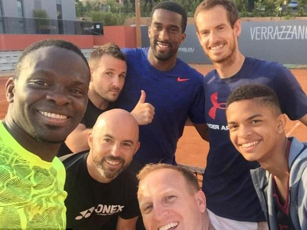 Saha (L) and Distin played a practice match with Murray in Monte Carlo: © Instagram - sahalouis88