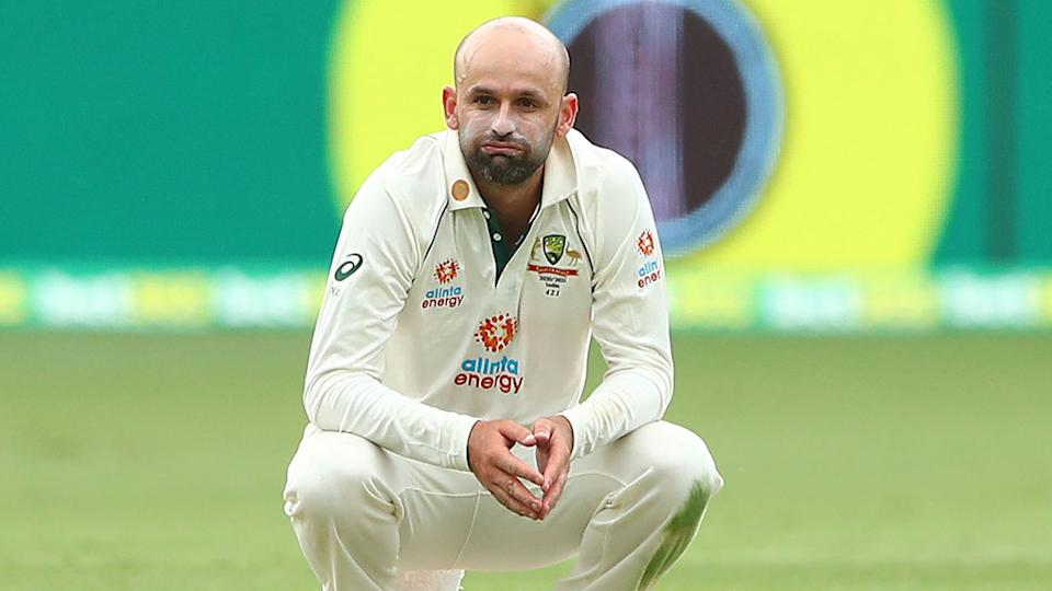 Nathan Lyon is pictured here looking dejected in the fourth Test against India.