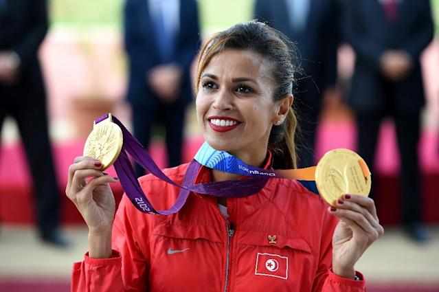 Tunisian 3000m steeplechase competitor Habiba Ghribi was awarded the gold medal for the World Cup 2011 and Olympics 2012 on June 4, 2016 after Russian athlete Yulia Zaripova was disqualified for doping (AFP Photo/Fethi Belaid)