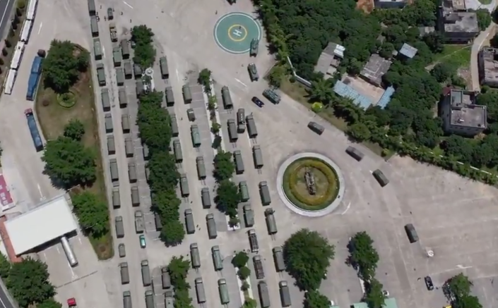 An aerial shot of trucks arriving in Shenzhen. Source: China Plus