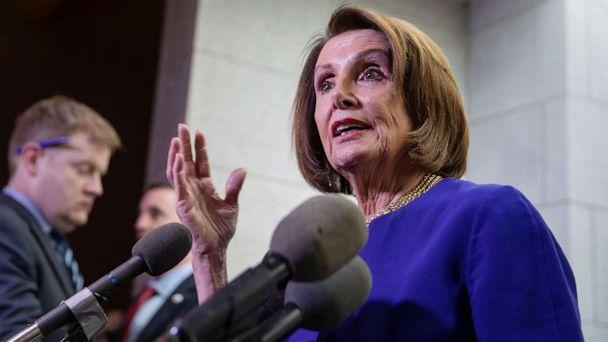 PHOTO: Speaker of the House Nancy Pelosi briefly speaks to the news media after leaving a House Democratic Caucus meeting at the Capitol in Washington, May 22, 2019. (Erik S. Lesser/EPA via Shutterstock)