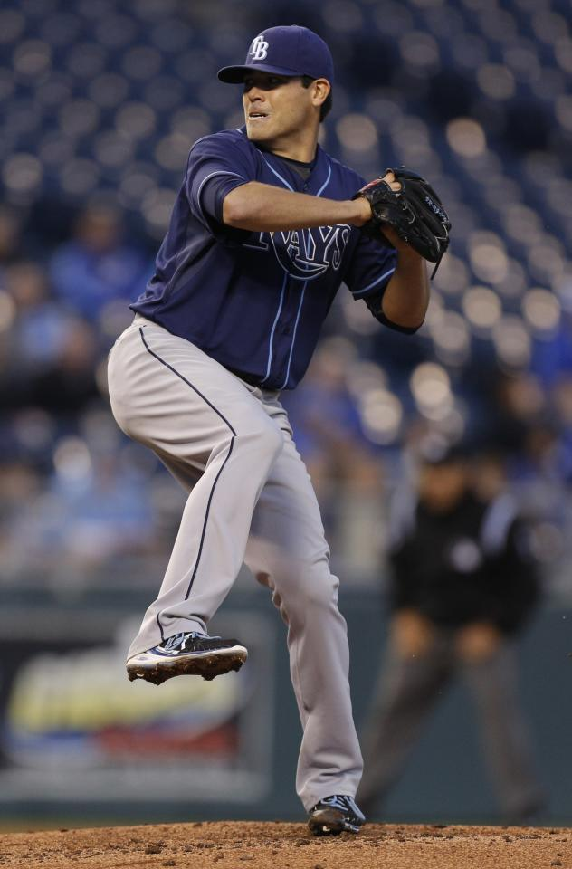 KANSAS CITY, MO - APRIL 7: Matt Moore #55 of the Tampa Bay Rays throws against the the Kansas City Royals in the second inning at Kauffman Stadium on April 7, 2014 in Kansas City, Missouri. (Photo by Ed Zurga/Getty Images)