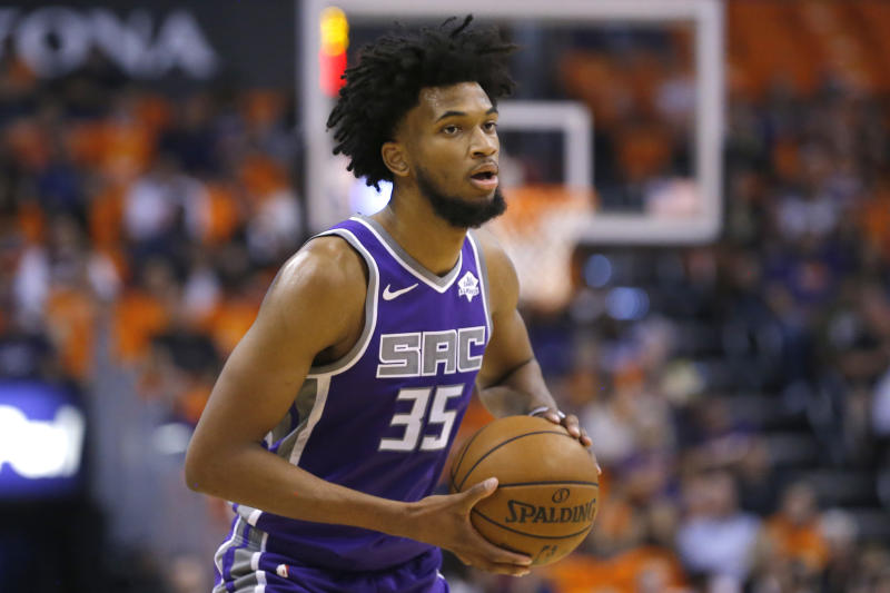 Sacramento Kings forward Marvin Bagley III (35) in the first half during an NBA basketball game against the Phoenix Suns, Wednesday, Oct. 23, 2019, in Phoenix. (AP Photo/Rick Scuteri)