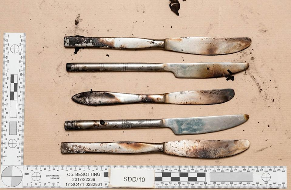 Components of the device that exploded on the District Line train at Parsons Green underground station. (PA/Met Police)