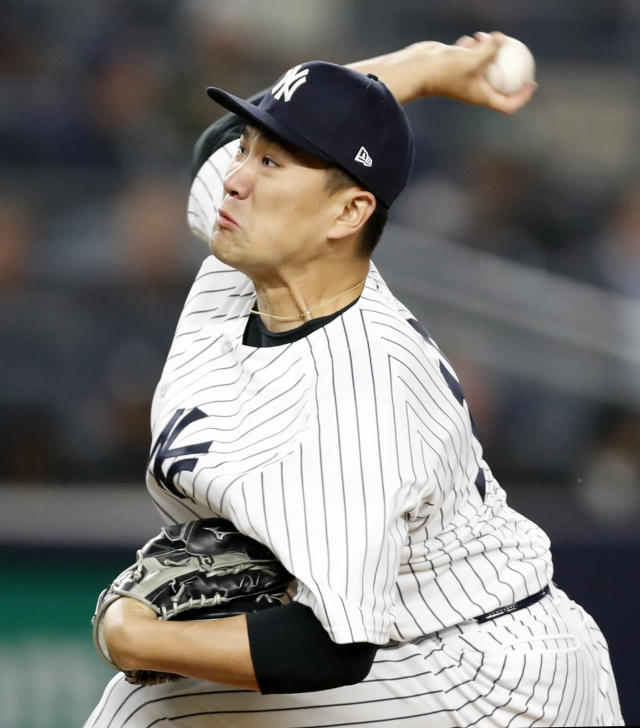 New York Yankees starting pitcher Masahiro Tanaka delivers during the fourth inning of a baseball game against the Minnesota Twins in New York, Monday, April 23, 2018. (AP Photo/Kathy Willens)