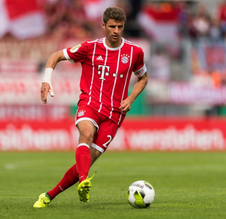 Munich's forward Thomas Mueller plays the ball during the German football Cup DFB Pokal first round match against Chemnitzer August 12, 2017