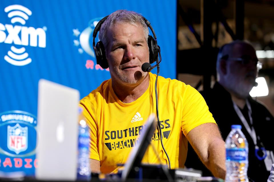 MIAMI, FLORIDA - JANUARY 31: Former NFL player Brett Favre speaks onstage during day 3 of SiriusXM at Super Bowl LIV on January 31, 2020 in Miami, Florida. (Photo by Cindy Ord/Getty Images for SiriusXM )