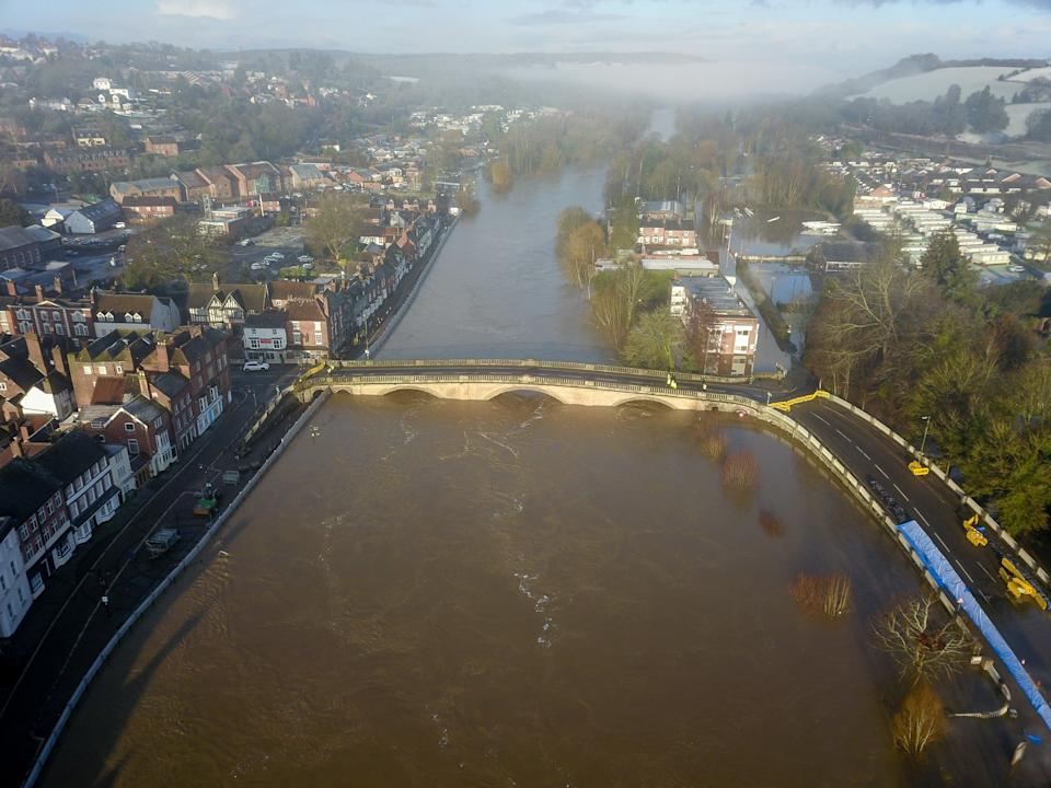 Aerial view of flooding along the river Severn at Bewdley where despite the efforts by the environment agency, one side of the flood defences have been overtopped as storm Christoph continues to wreak havoc. (SWNS)