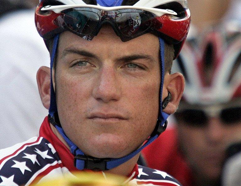 Tyler Hamilton before the start of the men's road race at the Athens Olympic Games on August 14, 2004