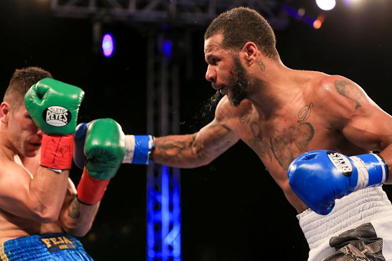 MIAMI, FL - JANUARY 13: Anthony Dirrell throws a punch against Norbert Nemesapati (blue trunks) during their Super middleweight bout at Hialeah Park on January 13, 2017 in Miami, Florida. (Photo by Rob Foldy/Getty Images)