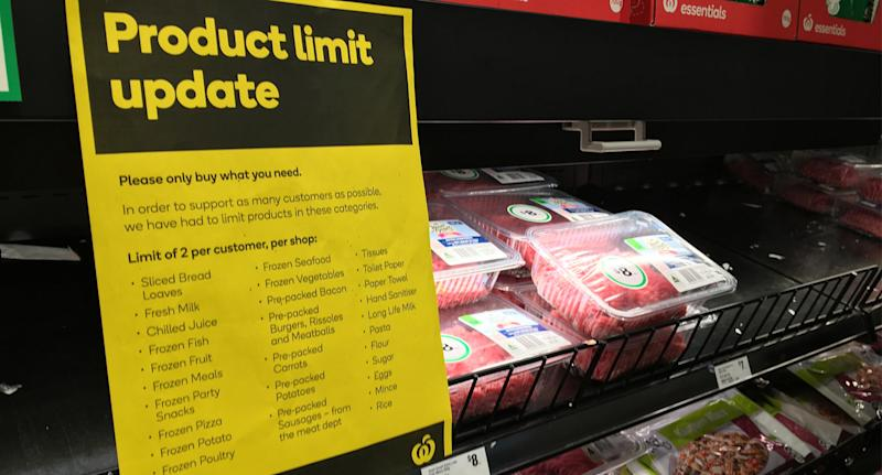 A sign listing all the current product limits in Woolworths.