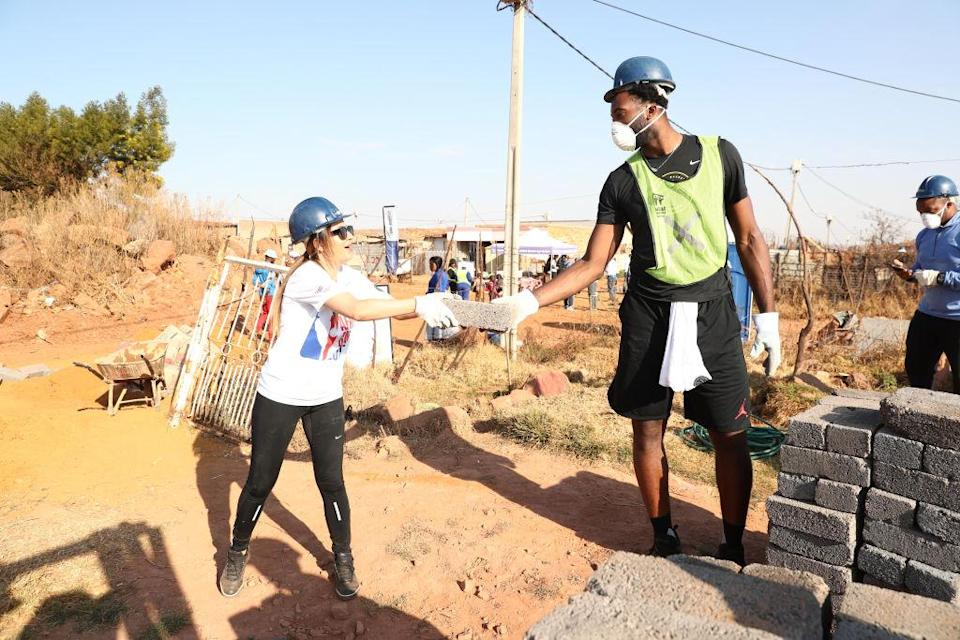 Andre Drummond worked with Habitat for Humanity as part of Basketball Without Borders Africa. (Getty)
