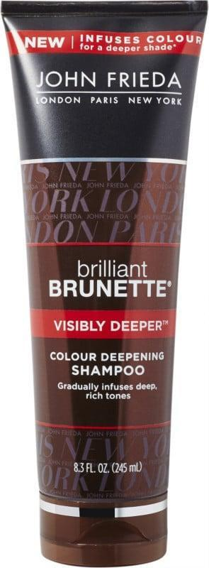 <p>To intensify your brown hue, try <span>John Frieda Brilliant Brunette Color Deepening Shampoo</span> ($12). After just one try, you'll get noticeably darker hair.</p>