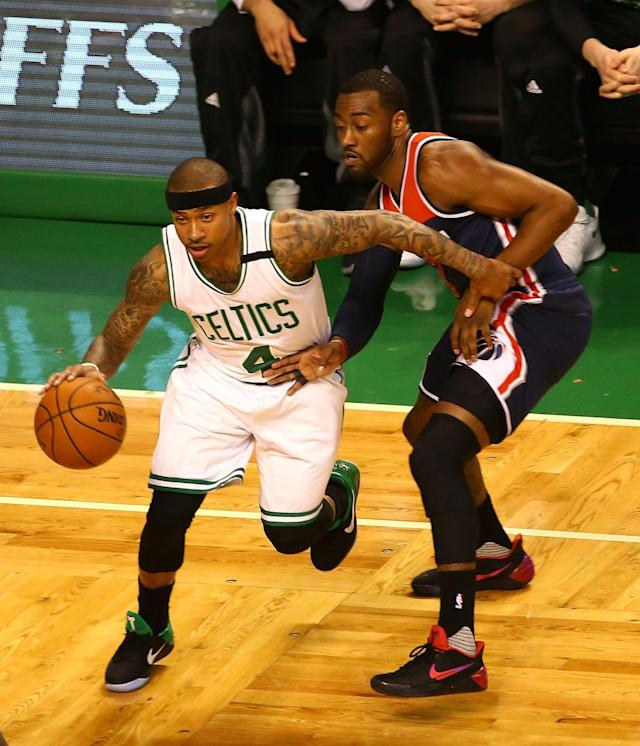 <p>BOSTON, MA – MAY 15: Isaiah Thomas #4 of the Boston Celtics drives against John Wall #2 of the Washington Wizards during Game Seven of the NBA Eastern Conference Semi-Finals at TD Garden on May 15, 2017 in Boston, Massachusetts. NOTE TO USER: User expressly acknowledges and agrees that, by downloading and or using this photograph, User is consenting to the terms and conditions of the Getty Images License Agreement. (Photo by Adam Glanzman/Getty Images) </p>