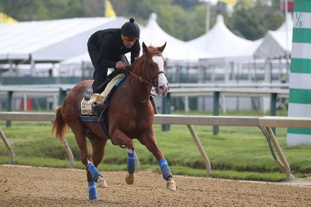 FILE PHOTO: May 16, 2019; Baltimore, MD, USA; Improbable participates in a morning workout at Pimlico Race Course. Mandatory Credit: Mitch Stringer-USA TODAY Sports/File Photo