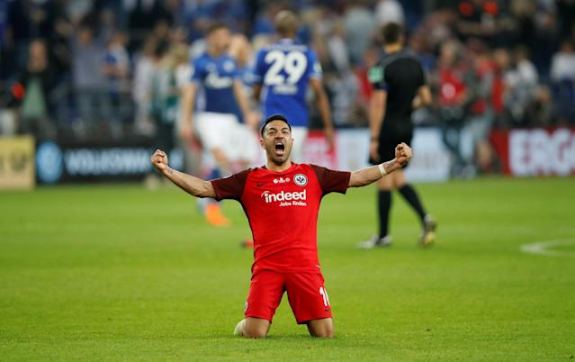 Soccer Football - DFB Cup - Schalke 04 vs Eintracht Frankfurt - Veltins-Arena, Gelsenkirchen, Germany - April 18, 2018 Eintracht Frankfurt's Marco Fabian celebrates after reaching the final REUTERS/Wolfgang Rattay DFB RULES PROHIBIT USE IN MMS SERVICES VIA HANDHELD DEVICES UNTIL TWO HOURS AFTER A MATCH AND ANY USAGE ON INTERNET OR ONLINE MEDIA SIMULATING VIDEO FOOTAGE DURING THE MATCH.