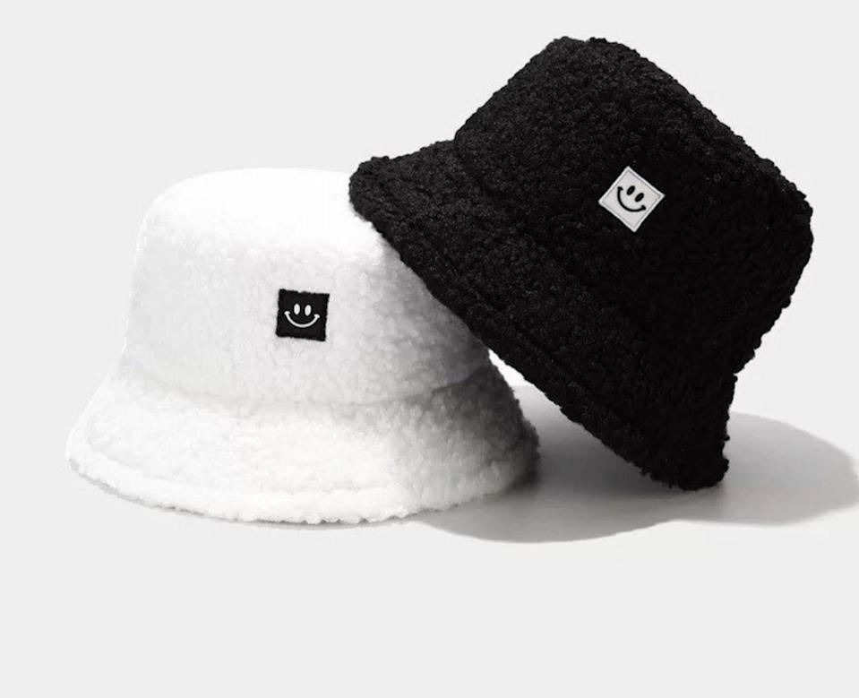 <p>How can this adorable <span>Faux Teddy Plush Bucket Hat</span> ($20 each) not make you smile?</p>