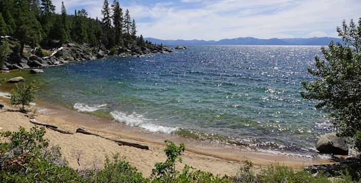 Lake Tahoe is seen from Creek Beach, on its east shore, on July 1.