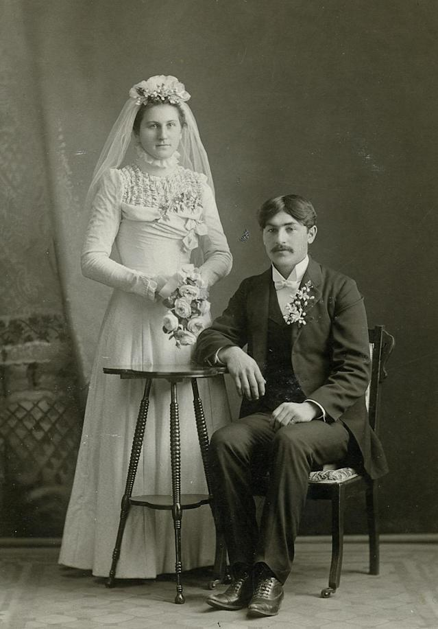 "<p>""Today, most people marry for love, or at least that's the way it is in the Western world."" (Pictured: Vintage wedding portraits from ""I Do, I Do"" exhibit) </p>"