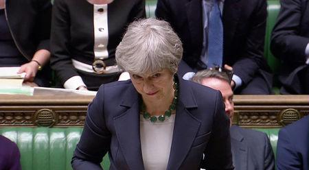 Britain's Prime Minister Theresa May speaks in Parliament, following the vote on Brexit in London