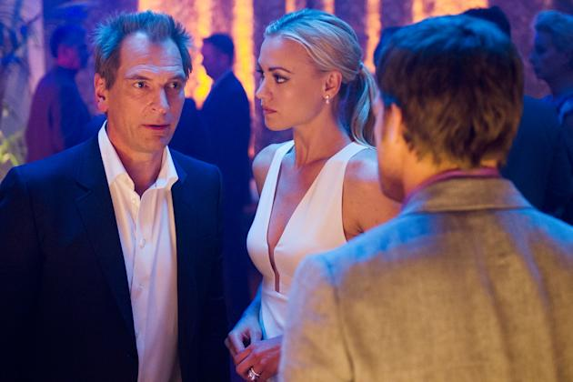 Julian Sands as Miles Foster, Yvonne Strahovski as Hannah McKay and Michael C. Hall as Dexter Morgan in the 'Dexter' Season 8 episode, 'Dress Code.'