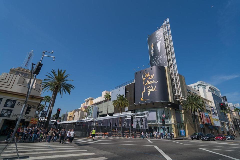 <p>Oscars day in Hollywood is a whole production, as you can probably imagine. Th 88th Academy Award's red carpet setup encompassed two city blocks along, you guessed it, Hollywood Blvd. <br></p>
