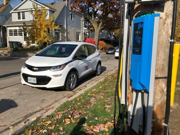 The City of Toronto is testing 17 on-street charging stations for electric vehicles as part of a one-year pilot project.  (Robert Krbavac/CBC - image credit)