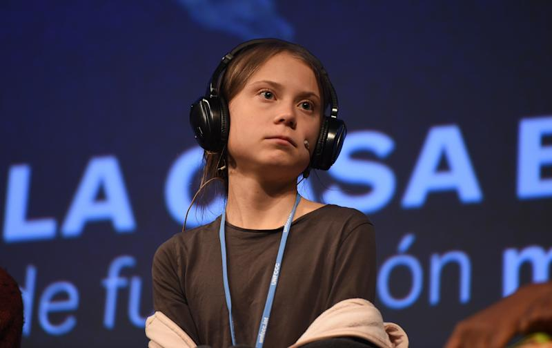 Climate change activist Greta Thunberg speaks at a press conference on Friday. (Photo: Denis Doyle via Getty Images)