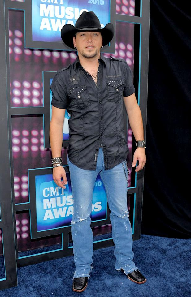 "Male vocalist Jason Aldean was obviously inspired by Donny and Marie's hit, ""I'm a Little Bit Country, I'm a Little Bit Rock 'n' Roll,"" when he decided to dress in a cowboy hat, a studded shirt, and distressed denim. Kevin Mazur/<a href=""http://www.wireimage.com"" target=""new"">WireImage.com</a> - June 9, 2010"