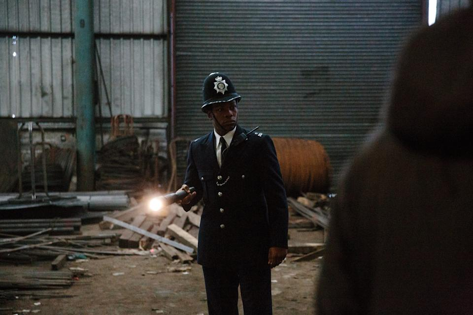 """John Boyega stars as a young London man who joins the police force to fight racism on the inside in Steve McQueen's """"Red, White and Blue."""""""