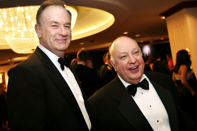 Former Fox News host Bill O'Reilly, left, has nothing but glowing praise for the network's founding CEO Roger Ailes.